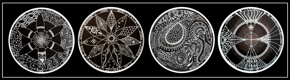 Soul Art Mandala Readings white ink on black samples