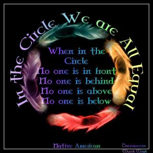 In The Circle We Are All Equal ,When in the circle, no one is in front, no one is behind, no one is above, no one is below.