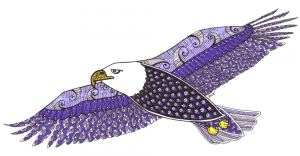 Eagle Animal Spirit Third Eye Chakra Guides - Zentangle ZIA spirit drawings by Elizabeth L James