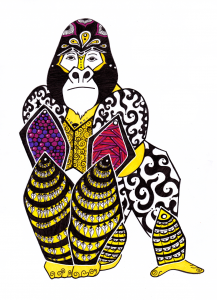 Gorilla Solar Plexus Chakra Guides - Zentangle ZIA spirit drawings by Elizabeth L James