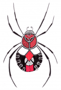 Redback Spider Sacral Chakra Guides - Zentangle ZIA spirit drawings by Elizabeth L James