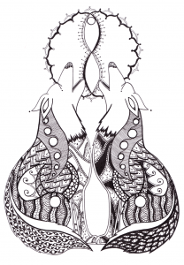 Twin Wolves Wolf Animal Spirit Crown Chakra Guides - Zentangle ZIA spirit drawings by Elizabeth L James