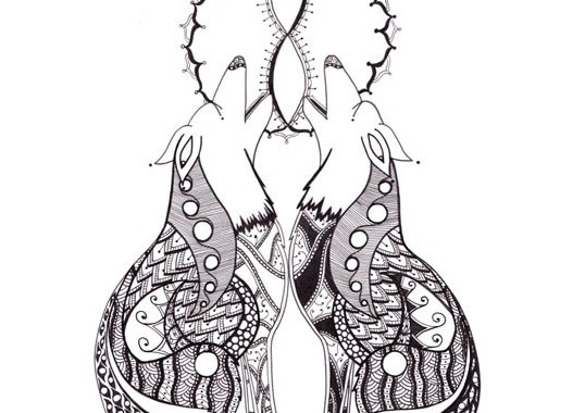 Twin Wolves Wolf Animal Spirit Chakra Guides - Zentangle ZIA spirit drawings by Elizabeth L James
